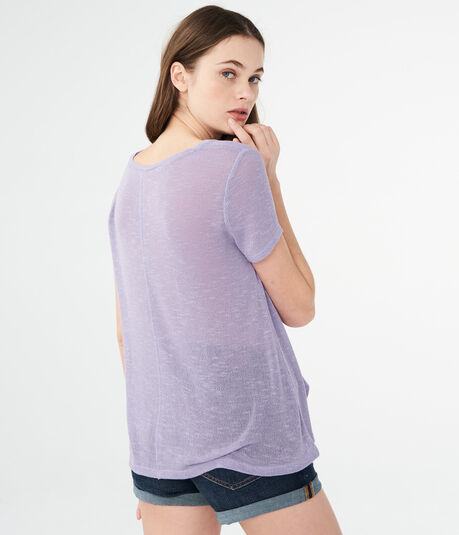 LLD Solid Sweater-Knit Pocket Tee***