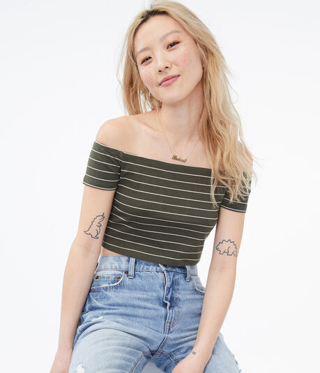 Seriously Soft Striped Off-The-Shoulder Crop Top