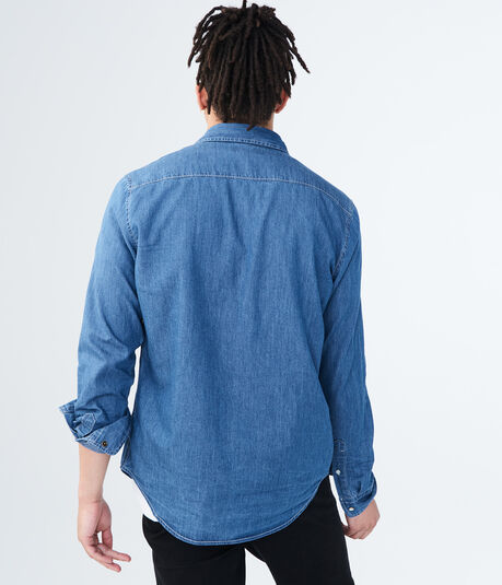 Long Sleeve Medium Wash Denim Woven Shirt