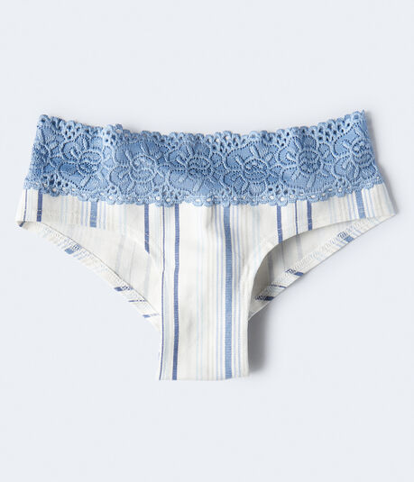 Vertical Stripe Lace-Trim Cheeky
