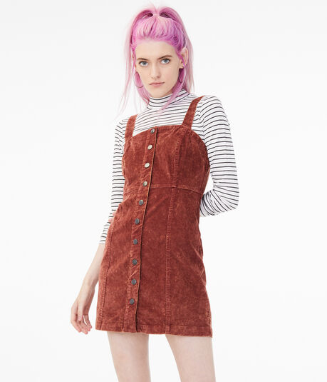 Corduroy Button-Front Dress