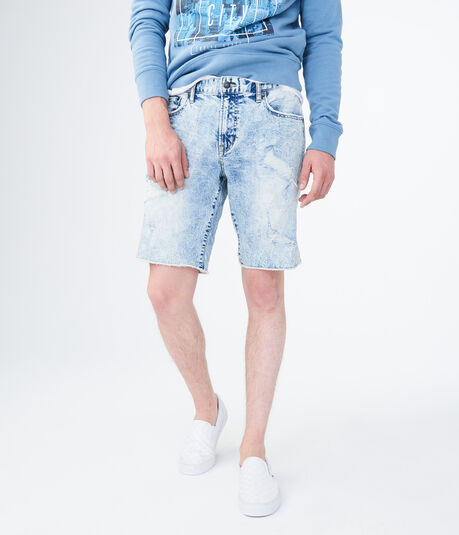 Medium Bleach Wash Destroyed Stretch Denim Cutoff Shorts