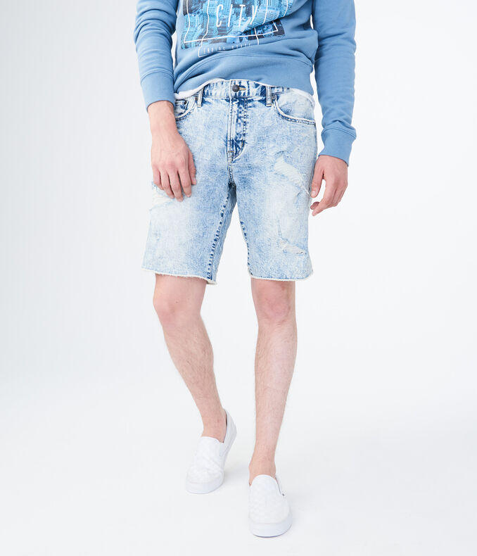 "Medium Bleach Wash Destroyed Stretch 9.5"" Denim Cutoff Shorts"