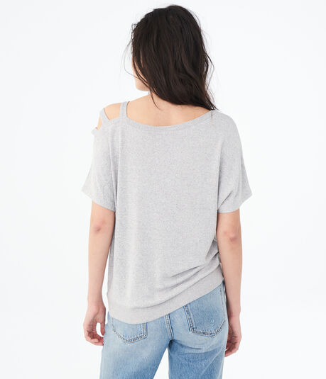 Solid Strappy-Shoulder Sweater-Knit Top