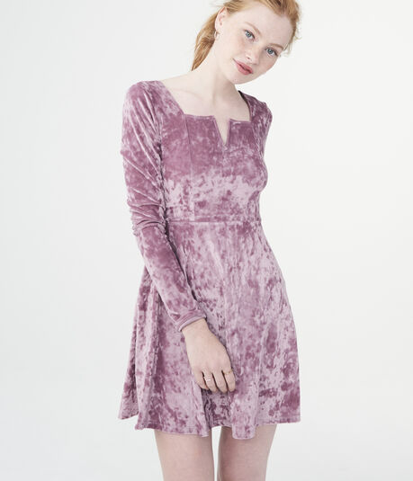 Solid V-Wire Velvet Fit & Flare Dress