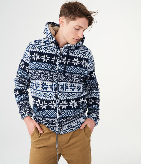Fair Isle Hooded Knit Jacket