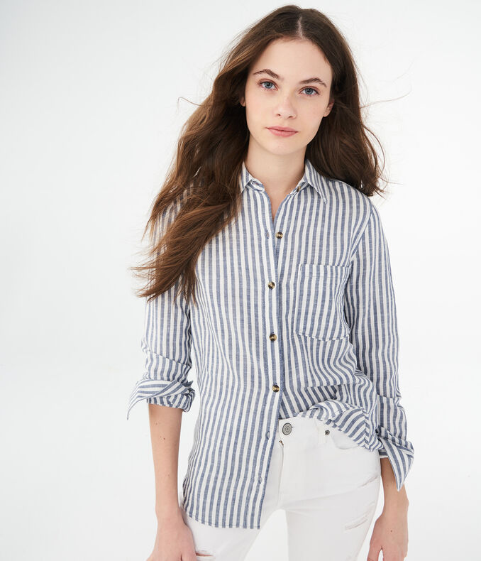 Long Sleeve Striped Woven Shirt by Aeropostale
