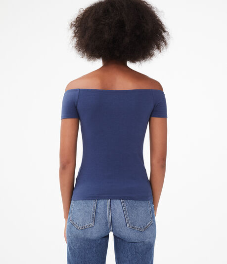 Seriously Soft Embroidered Off-The-Shoulder Bodycon Tee***
