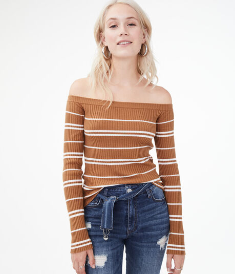 Long Sleeve Striped Off-The-Shoulder Bodycon Top