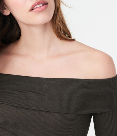 Long Sleeve Solid Folded Off-The-Shoulder Top***