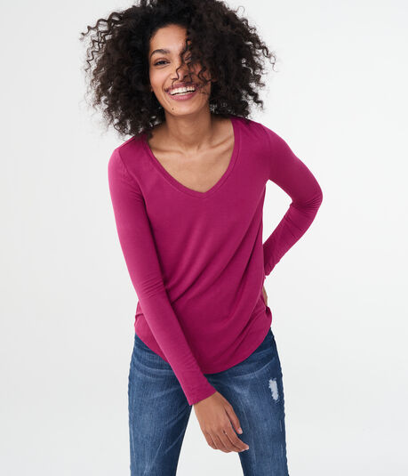 Aeropostale Long Sleeve Seriously Soft Solid V-neck Tee