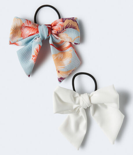Flower & Solid Bow Hair Tie 2-Pack