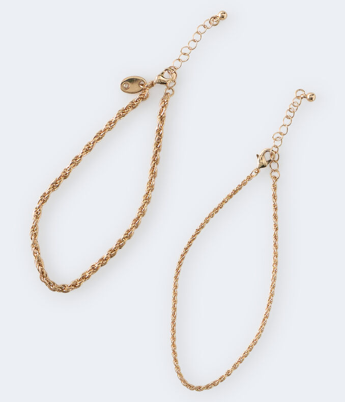 Twisted Chain Anklet 2-Pack