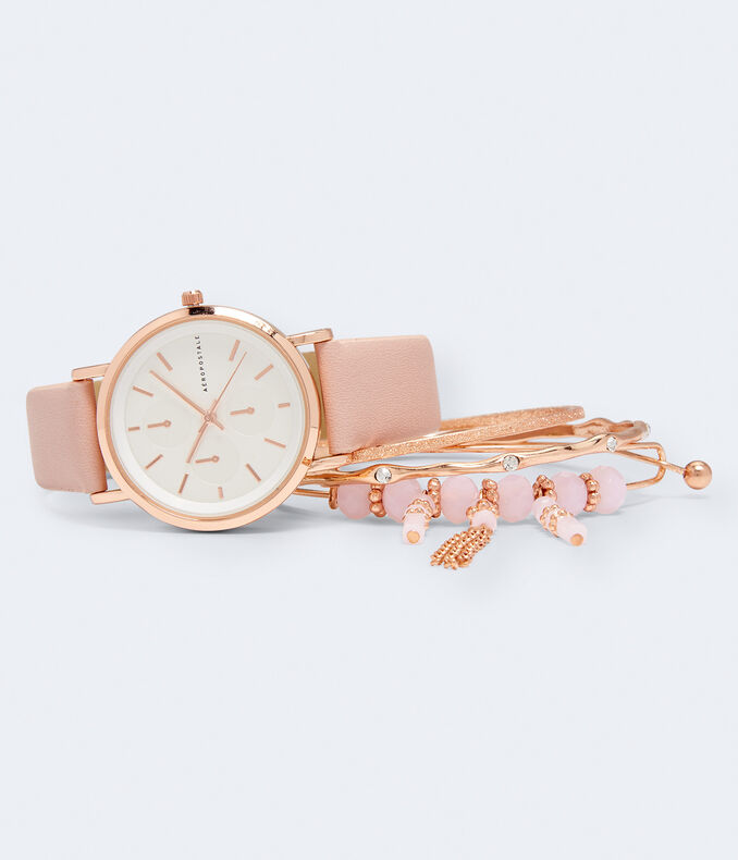 Faux Leather Tonal Analog Watch & Bracelet Set