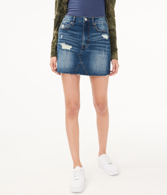 Real Denim High Rise Destroyed Mini Skirt by Aeropostale