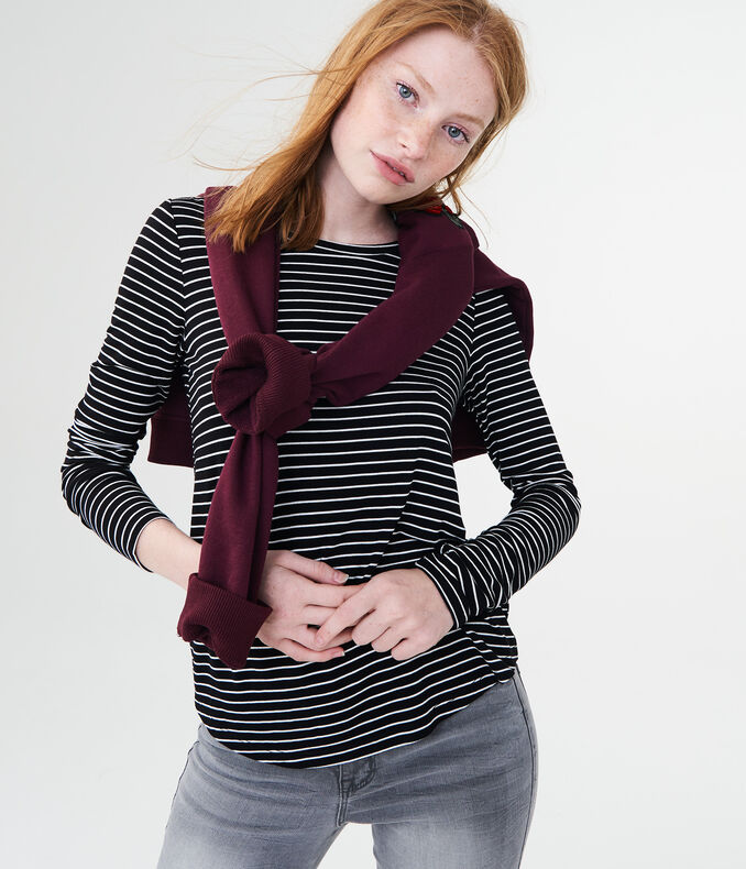 Long Sleeve Striped Crew Tee by Aeropostale