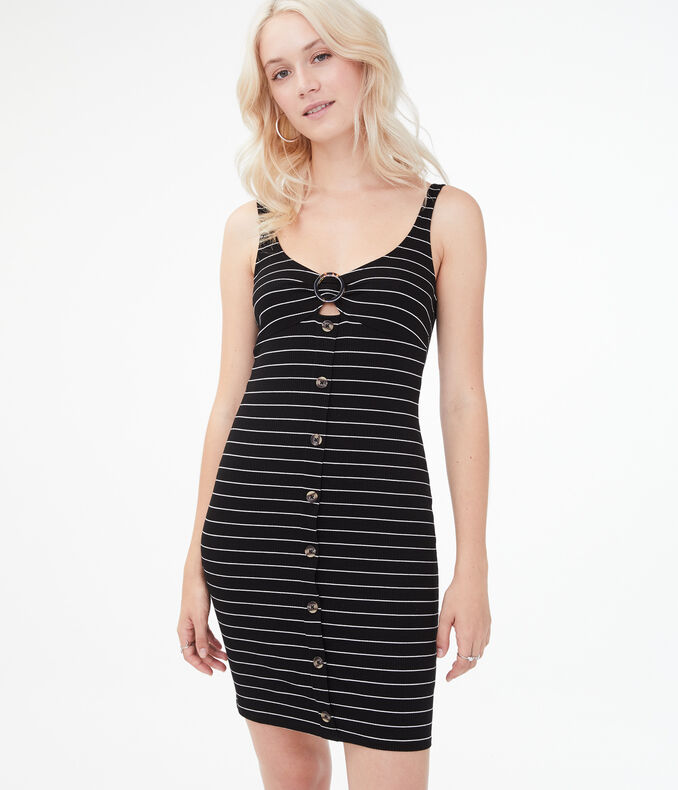 Striped O-Ring Button-Front Bodycon Dress