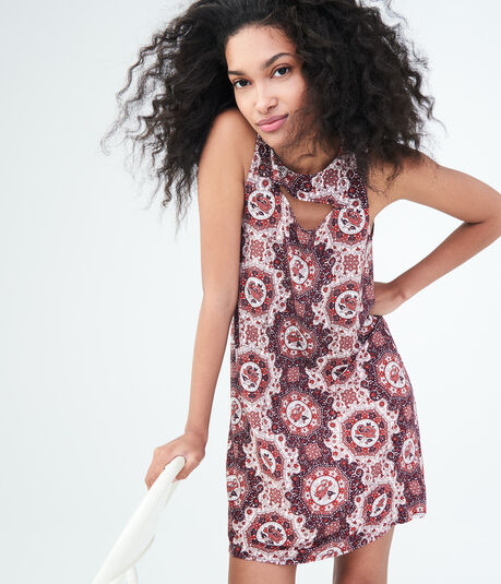 Geometric Print High-Neck Swing Dress