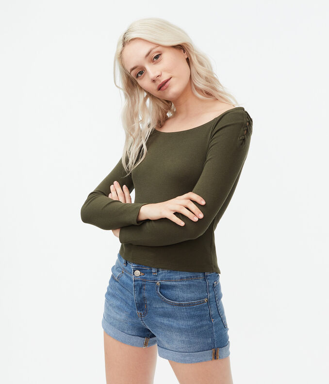 Long Sleeve Ribbed Lace-Up Off-The-Shoulder Top***