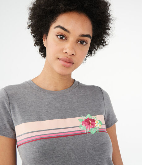 Floral Stripe Graphic Girl Tee