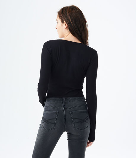 Long Sleeve Seriously Soft Lace-Up Tee