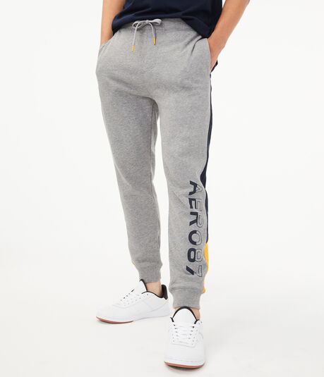 Aero87 Colorblocked Stripe Jogger Sweatpants***