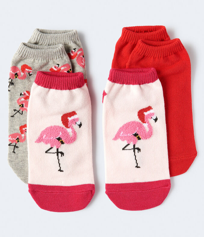 Fuzzy Flamingo Ankle Sock 3-Pack