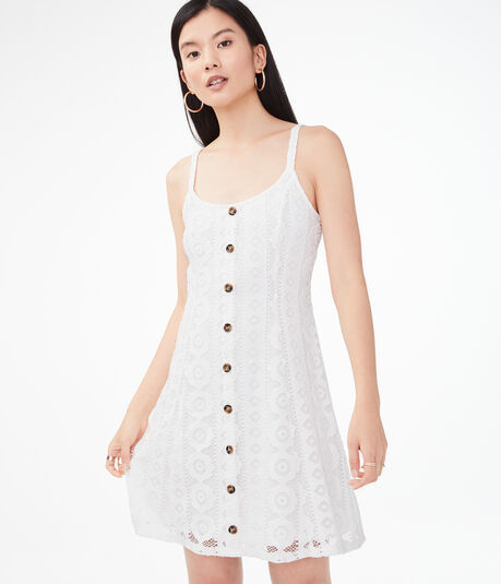Lace Button-Front Shift Dress