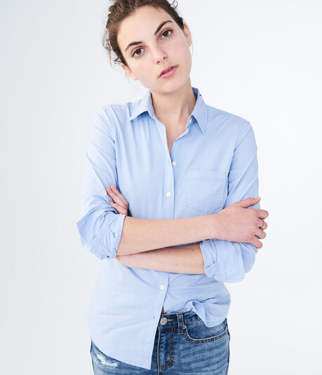 Long Sleeve Poplin Button-Down Shirt***