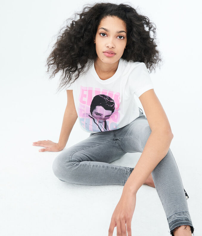 Elvis Elvis Elvis Crop Graphic Tee