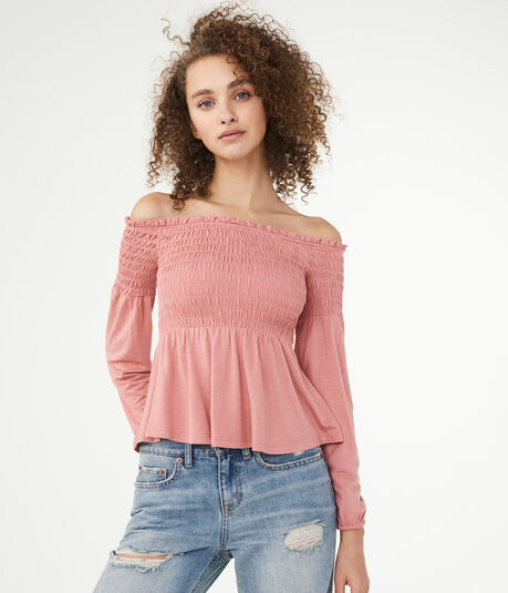 Long Sleeve Solid Smocked Off-The-Shoulder Top