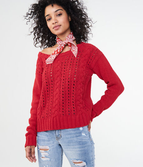 Solid Chenille Cable Sweater
