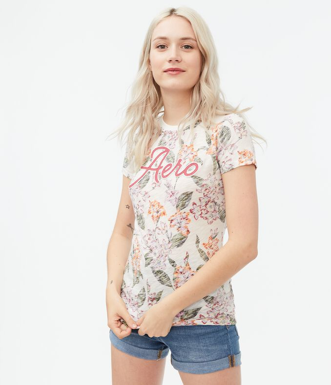 Aero Heathered Floral Graphic Tee