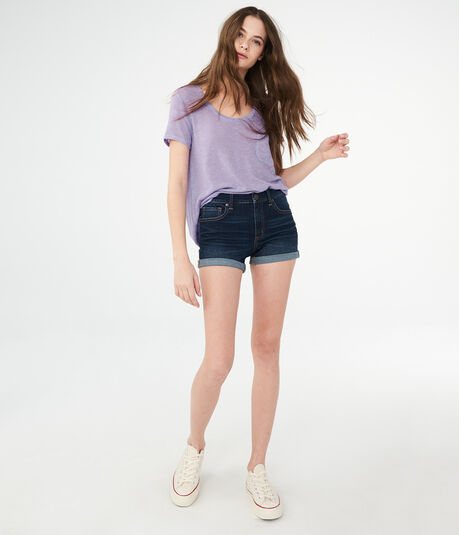 Flex Effects High-Rise Cuffed Denim Midi Shorts