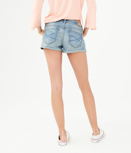 Light Wash Rip-And-Repair Denim Shorty Shorts