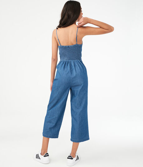Lace-Up Denim Jumpsuit
