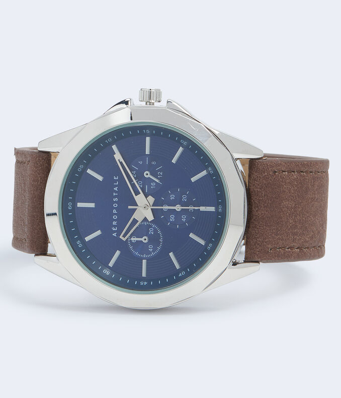 Faux Leather Chrono Analog Watch