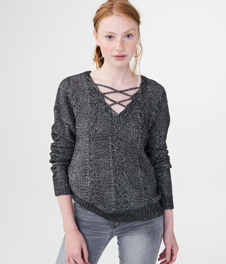 Cable Lace-Up Sweater