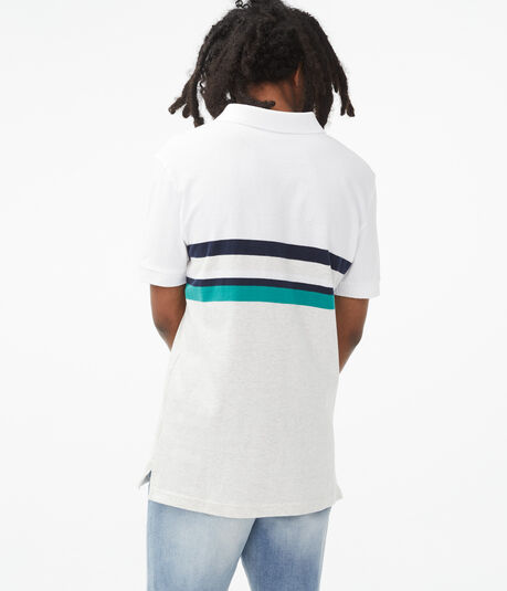 Colorblocked Stripe Jersey Polo