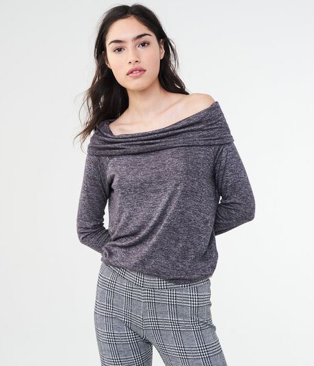 LLD Long Sleeve Space-Dye Off-The-Shoulder Tee