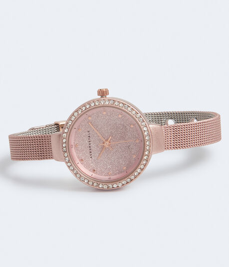 Glittery Metal Mesh Analog Watch***