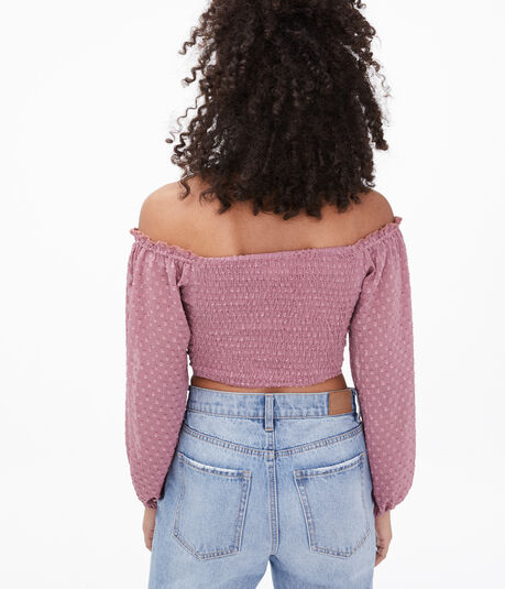 Dotted Lace-Up Off-The-Shoulder Crop Top