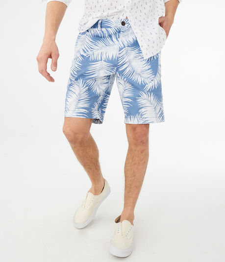 Palm Frond Stretch Flat-Front Shorts