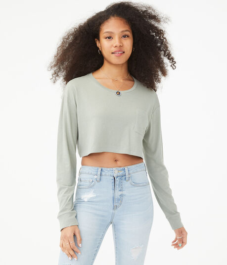 Long Sleeve Super-Cropped Crew Tee***