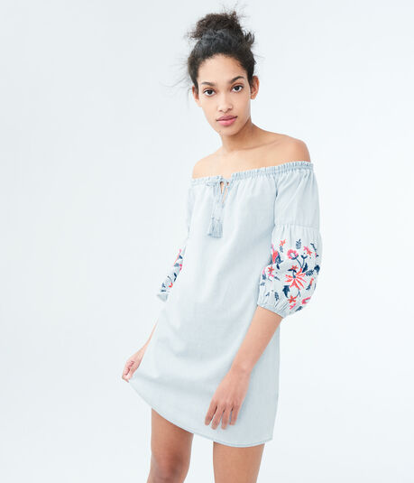 Solid Off-The-Shoulder Embroidered Chambray Shift Dress