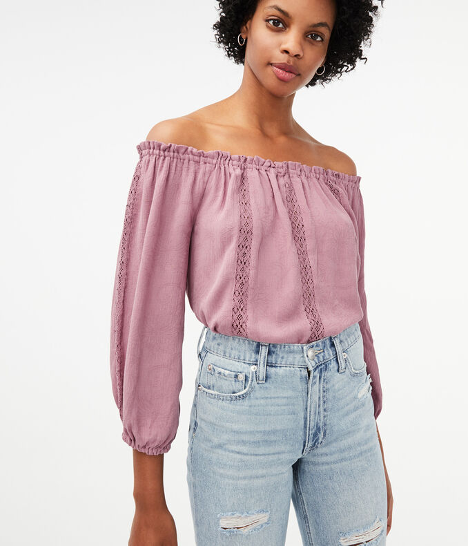Long Sleeve Off-The-Shoulder Peasant Top