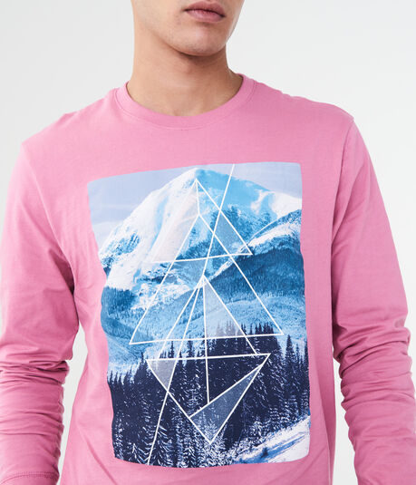 Long Sleeve Geo Mountain Graphic Tee