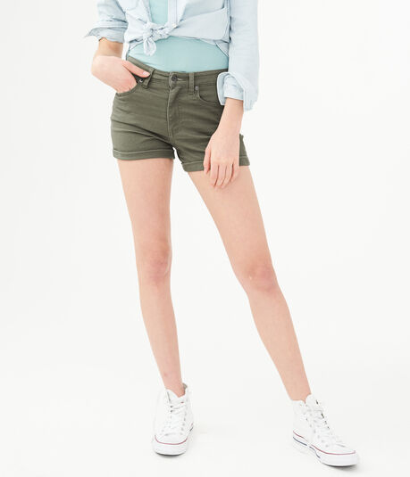High-Waisted Color Wash Midi Shorts