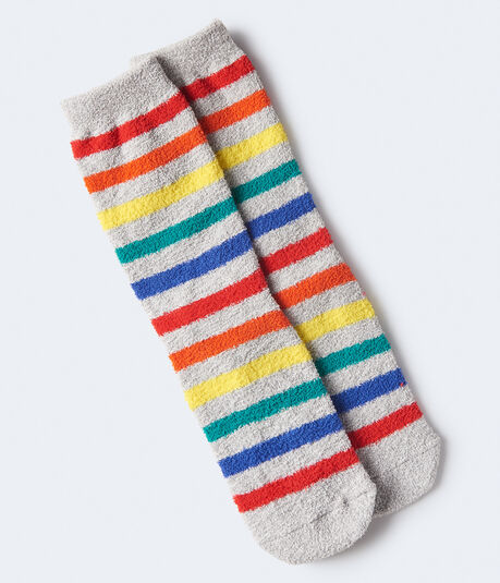 Rainbow Stripe Fuzzy Crew Socks