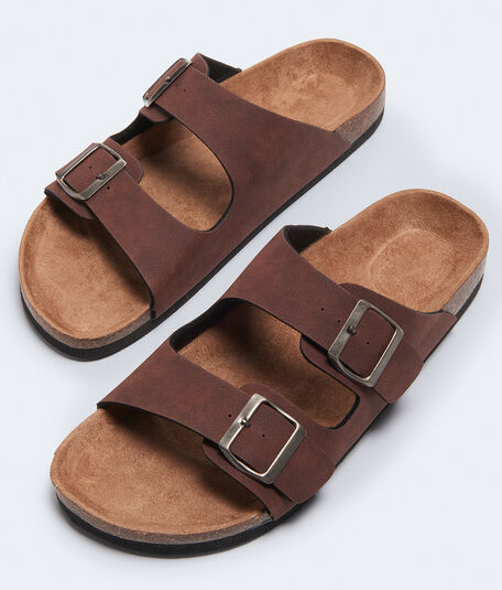 Double-Strap Cork Slide Sandal